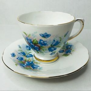 3/$50 Vintage bone china blue floral teacup saucer